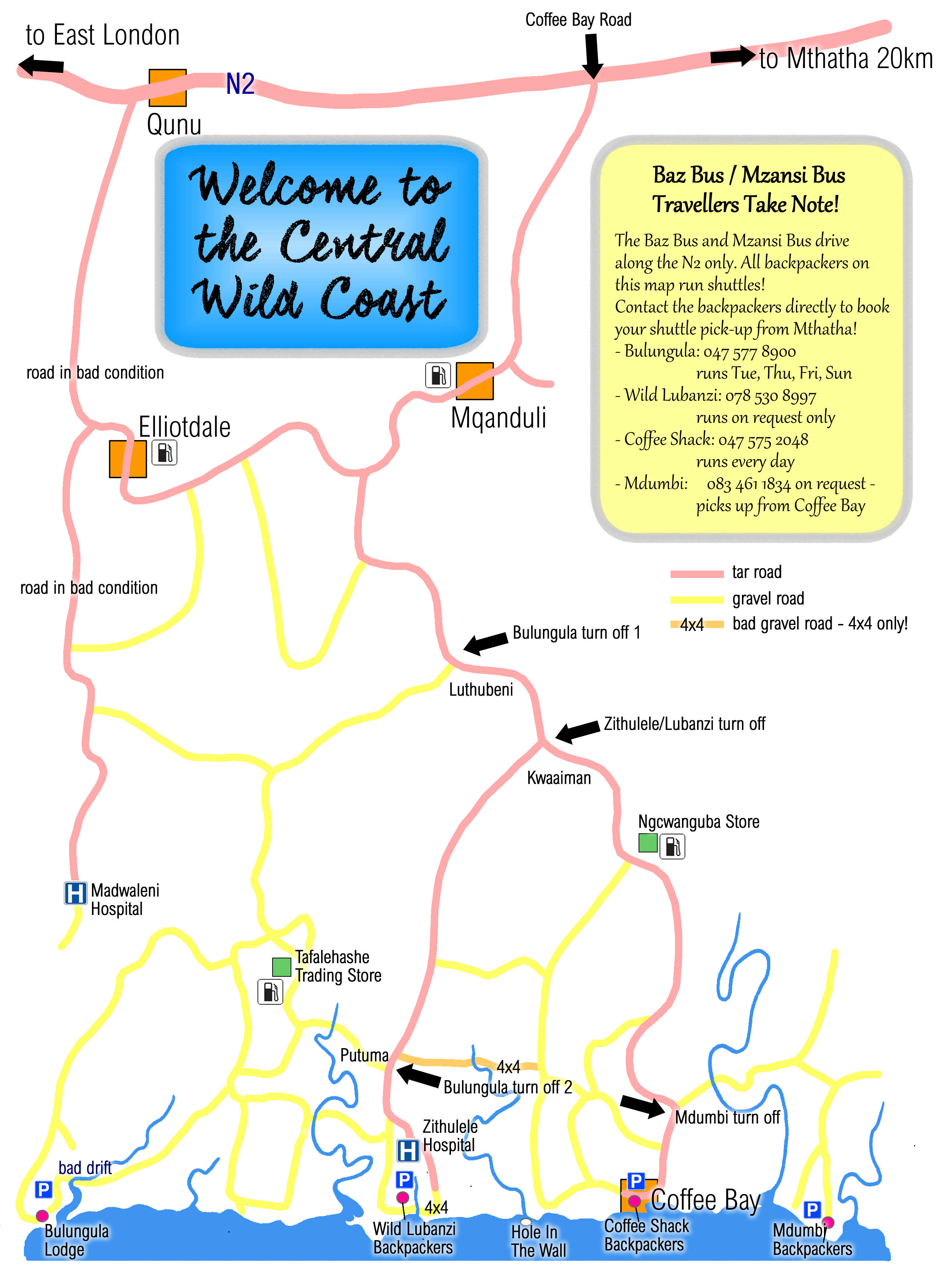 road map for the central wild coast backpackers